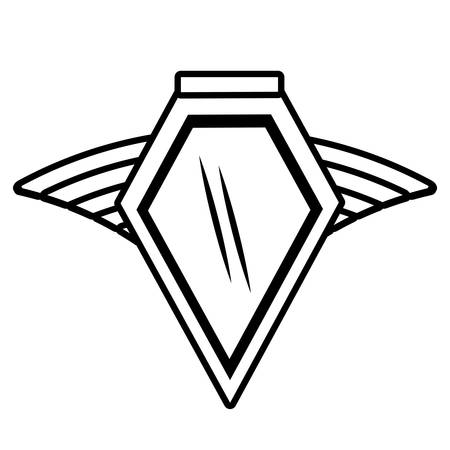 airway: shield insignia military winged outline empty vector illustration eps 10