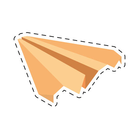 yellow paper plane symbolic miniature cut line vector illustration eps 10