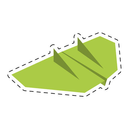 green paper aircraft flight toy cut line vector illustration eps 10