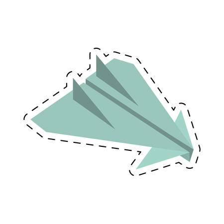 arming: paper plane origami arming fly cut line vector illustration eps 10