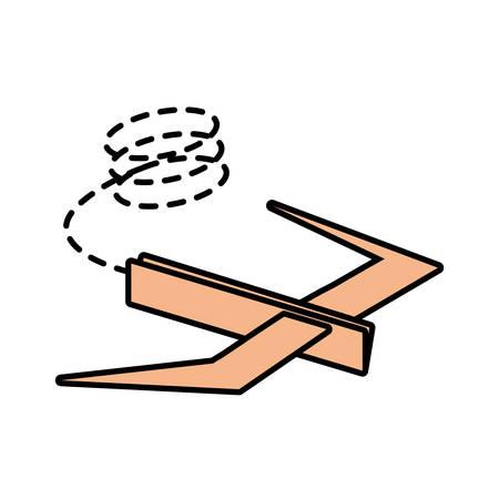 futurist: paper plane futurist model fly line dotted vector illustration eps 10 Illustration