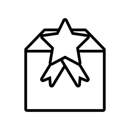 gift box cube star ribbon present outline vector illustration eps 10 Illustration