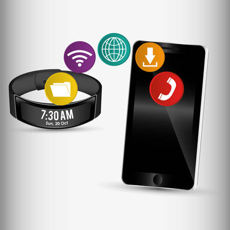 wristband: smartphone and smart wristband sharing application vector illustration eps 10