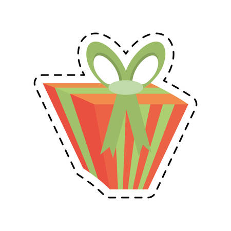 green ribbon: gift box green ribbon bow stripes line dotted vector illustration eps 10 Illustration