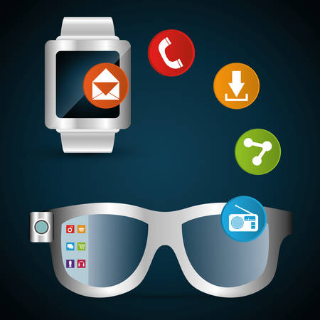 share information: smart glasses watch share information network vector illustration eps 10 Illustration