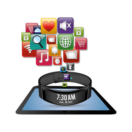 smart wristband tablet innovation digital icon vector illustration eps 10 Ilustração