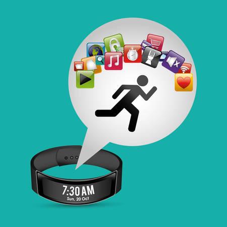 smart wristband tracker fitness green background vector illustration eps 10