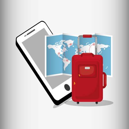 travel smartphone map red suitcase vector illustration eps 10 Illustration