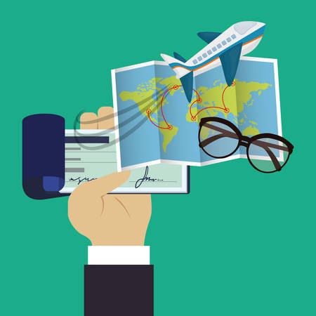 checkbook: travel checkbook map glasses green background vector illustration eps 10 Illustration