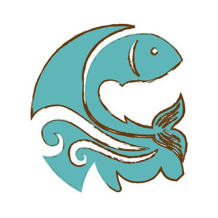 abstract fish emblem image vector illustration design Illustration
