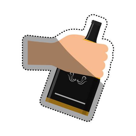 fiambres: Whisky glass bottle icon vector illustration graphic design