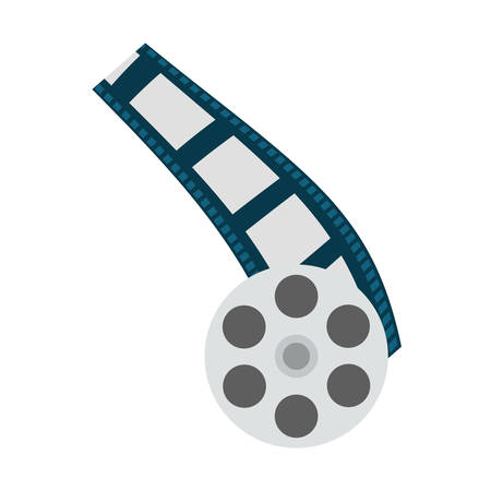 film strip and reel icon over white background. entertainment and technology design. vector illustration Illustration