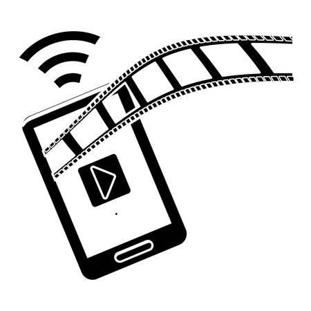 cinema viewing: smartphone and film strip icon over white background. entertainment and technology design. vector illustration