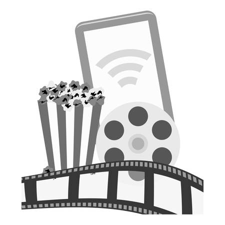 pop corn: smartphone device with pop corn and film strip icon over white background. entertainment and technology design. vector illustration