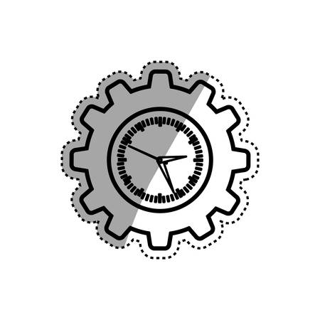 Clock with gear piece icon vector illustration graphic design Illustration