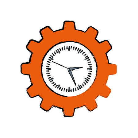 Clock with gear piece icon vector illustration graphic design Ilustrace