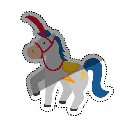 circus horse cartoon icon vector illustration graphic design Illustration