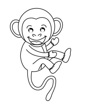 hapiness: cute mokey cartoon icon vector illustration graphic design