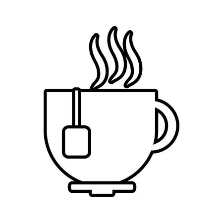 hot line: cup coffee tea chocolate hot line vector illustration eps 10