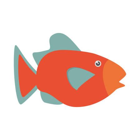 lagoon: orange fish marine ecosystem life vector illustration eps 10