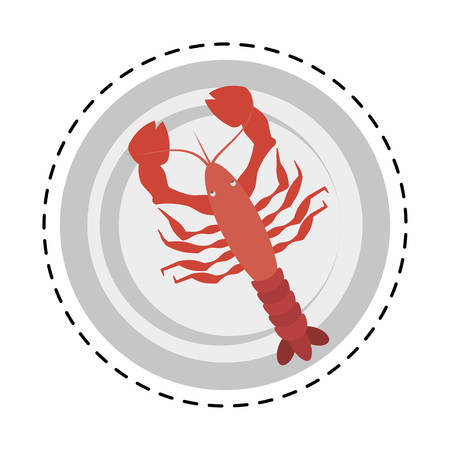 red lobster sealife top view on dish vector illustration eps 10