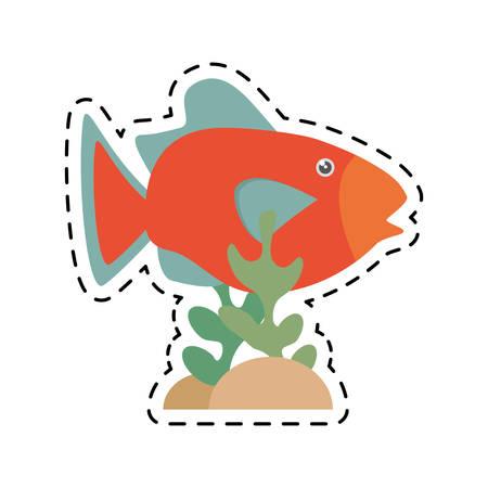 lagoon: orange fish marine ecosystem life coral vector illustration eps 10