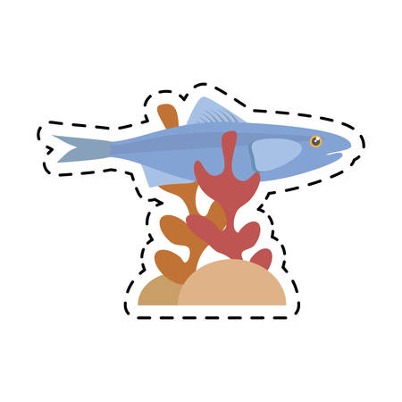 mackerel: sardine sea food sealife coral vector illustration eps 10