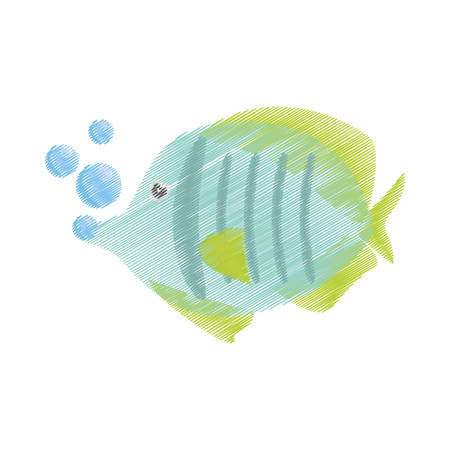 hand drawing exotic fish sealife freshwater bubbles vector illustration eps 10
