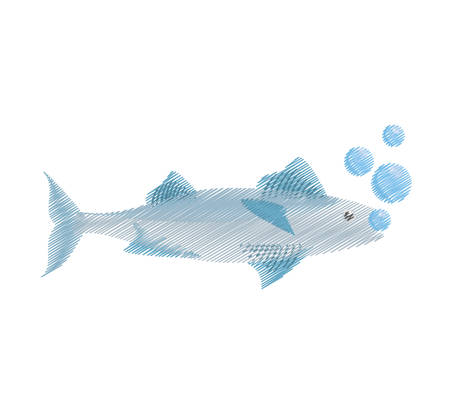 mackerel: hand drawing mackerel fish sea life bubbles vector illustration eps 10 Illustration