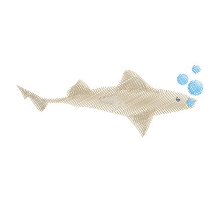 hand drawing shark fish ocean species bubbles vector illustration eps 10 Illustration