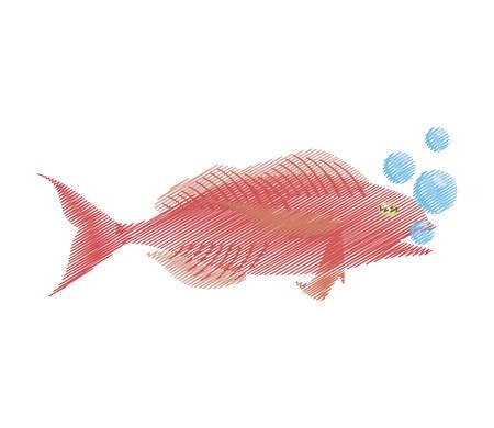 hand drawing cod fish sealife food ocean bubbles vector illustration eps 10 Illustration