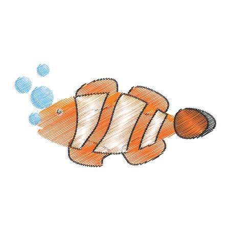 hand drawing clown fish coral anemone reef bubbles vector illustration eps 10