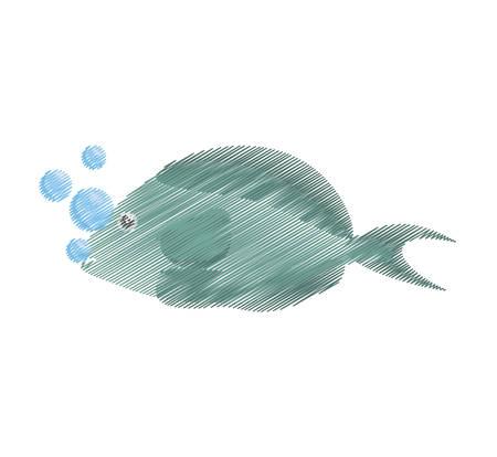 hand drawing fish aquarium ornament habitat bubbles vector illustration eps 10