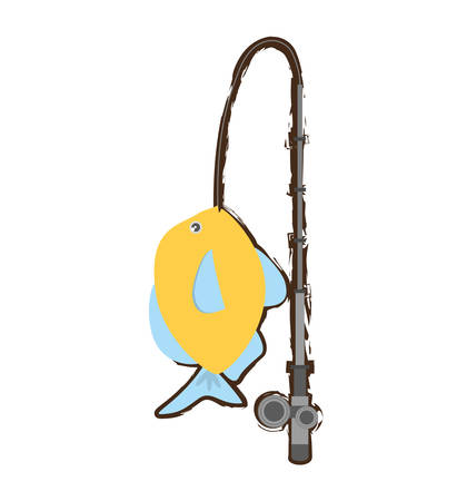 blue and yellow fish variety ocean fishing rod vector illustration eps 10