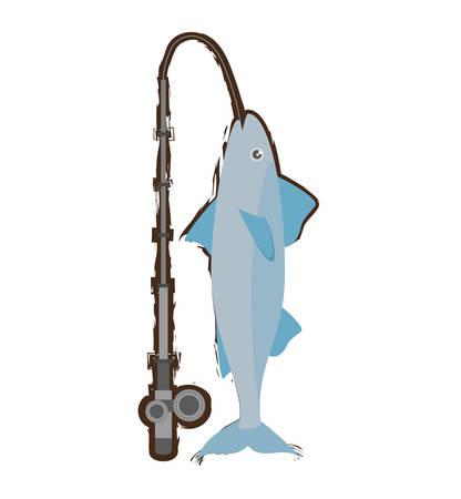 trap: mackerel fish sea life fishing rod vector illustration eps 10 Illustration