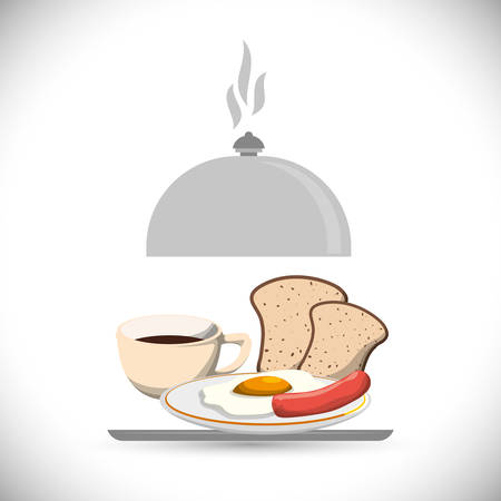 tray breakfast meal coffee fried egg sausage bread vector illustration eps 10