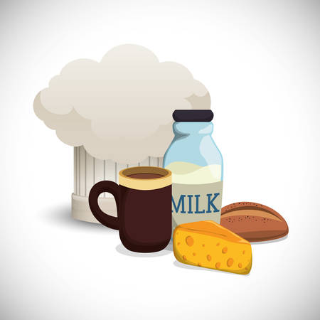 collection breakfast ingredients hat chef vector illustration eps 10 Illustration