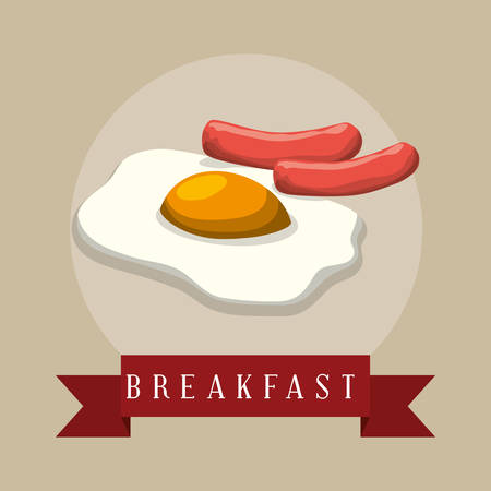 patties: poster breakfast fried eyes sausages ribbon vector illustration eps 10