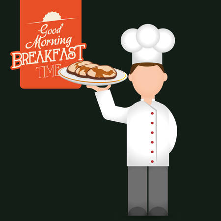 breakfast time chef man tray pancakes delicious vector illustration eps 10 Illustration