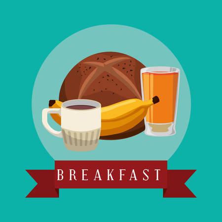 poster breakfast banana juice coffee bread bake vector illustration eps 10 Illustration