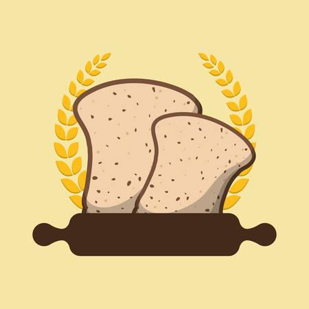 halved: breakfast cooking roller halved bread laurel badge vector illustration eps 10