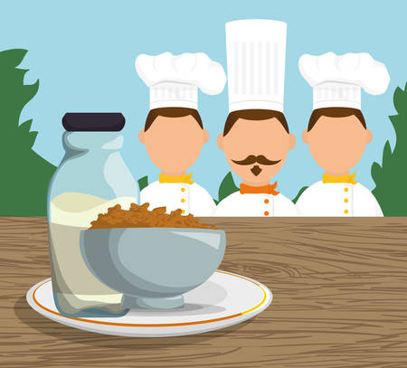 three character chef breakfast cereal milk landscape vector illustration eps 10