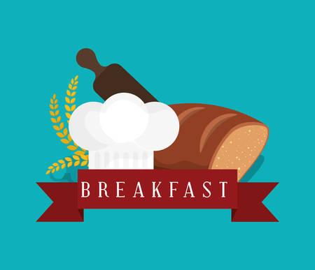 breakfast bread bakery wheat roller cook hat vector illustration eps 10 Illustration
