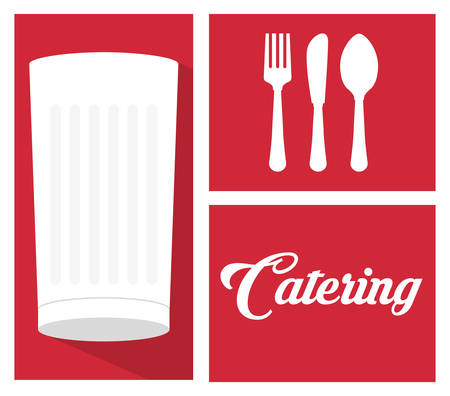spoon fork: catering food service milk cup spoon fork knife vector illustration eps 10