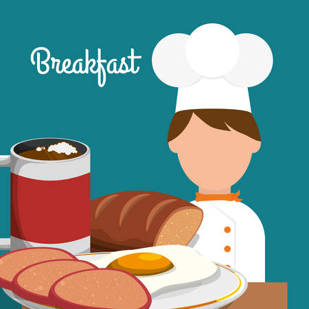breakfast chef cooking delicious egg bread cappuccino vector illustration eps 10