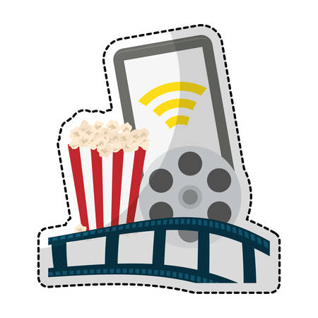 play symbol on digital device screen movie or video related icon image sticker vector illustration design