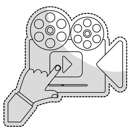 film projector: film projector movie or video related icon image vector illustration design