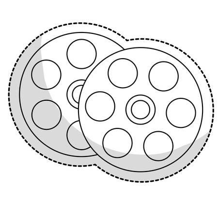 film reel movie or video related icon image sticker vector illustration design Illustration