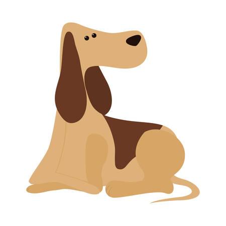 cartoon cute dog icon over white background. coloful design. vector illustration Illustration