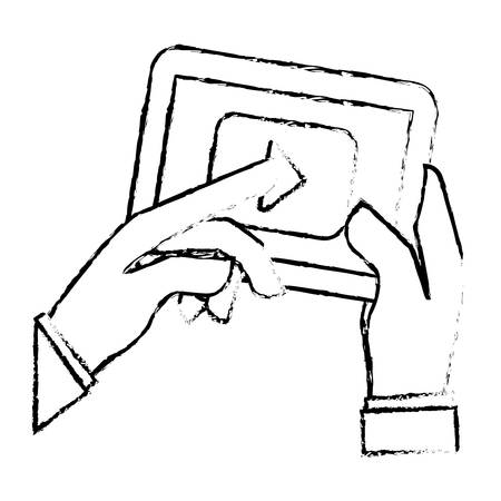 play symbol on digital device screen movie or video related icon image sketch line vector illustration design